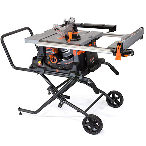 WEN 3720 15A 10 Inch Jobsite Table Saw with Rolling Stand